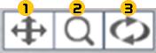 視点移動、拡大縮小、回転ボタン